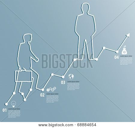 Business Graph With A Man Going To Succeed Infographics Template With Icons