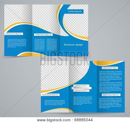 Three fold business brochure template corporate flyer or cover design in blue colors