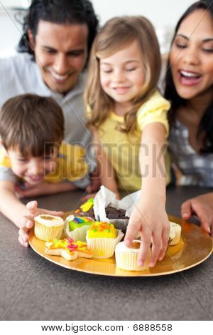 Joyful Family Eating Cookies