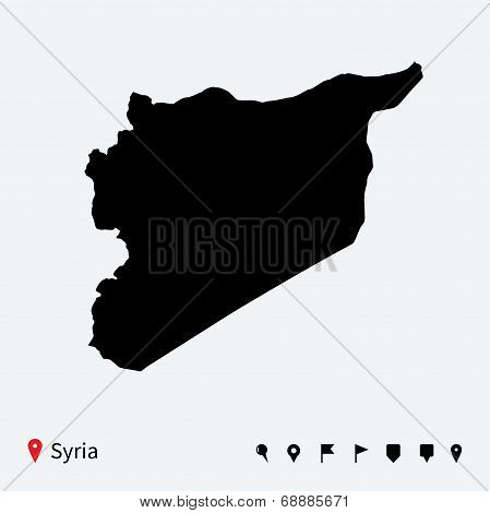 High detailed vector map of Syria with navigation pins.