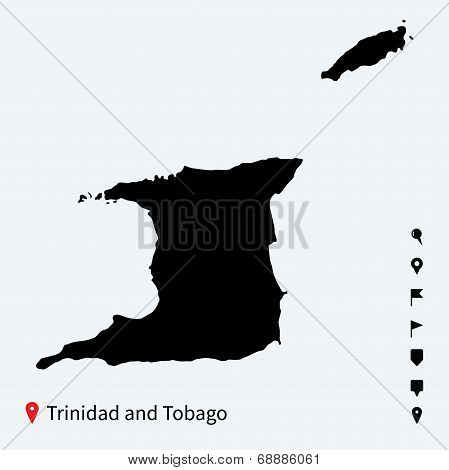 High detailed vector map of Trinidad and Tobago with pins.