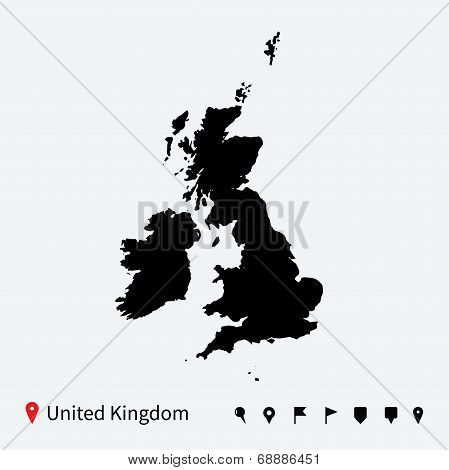 High detailed vector map of United Kingdom with navigation pins.