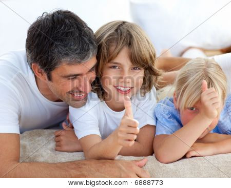 Affectionate Father With His Children Having Fun