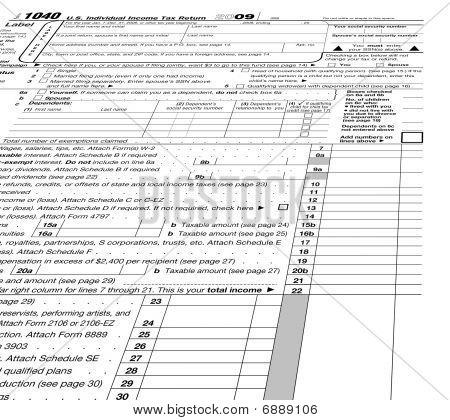 Empty Form 1040 Blank, Taxes