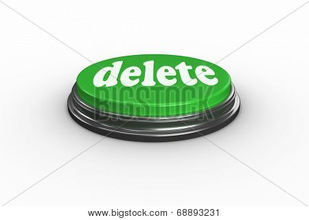 The word delete on digitally generated green push button