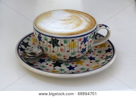 Coffee in polish pottery from Boleslawiec / Bunzlau