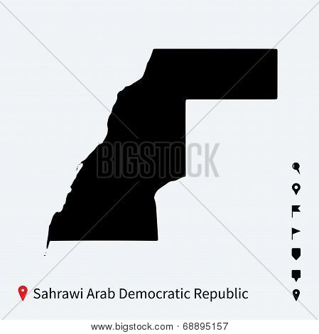 High detailed vector map of Sahrawi Arab Democratic Republic with pins.