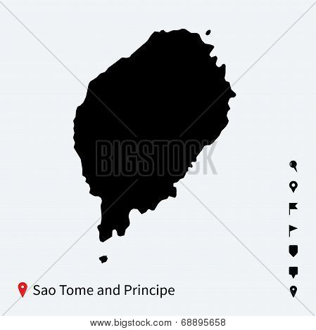 High detailed vector map of Sao Tome and Principe with pins.