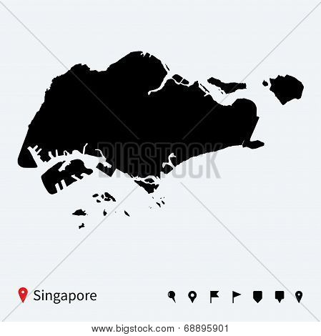 High detailed vector map of Singapore with navigation pins.