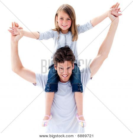 Handsome Father Giving His Daughter Piggyback Ride