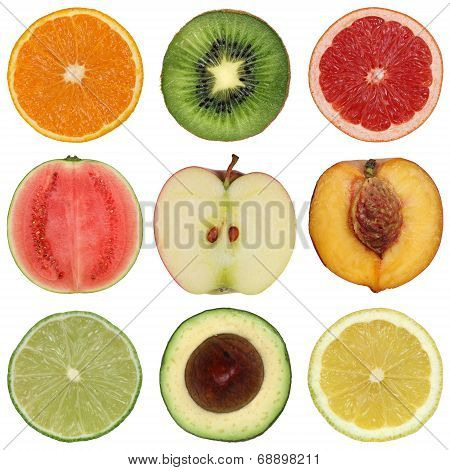 Collection Of Healthy Sliced Fruits