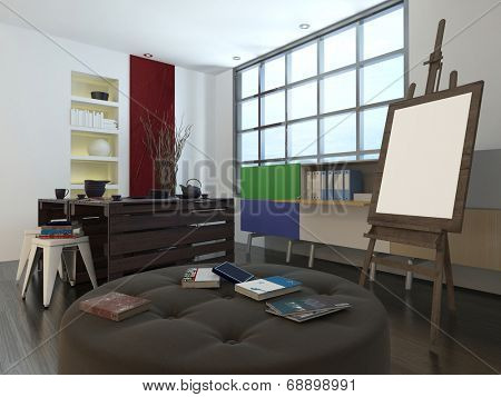 Modern design or art studio with a storage unit, comfortable circular upholstered seat and large easel in front of cottage pane windows