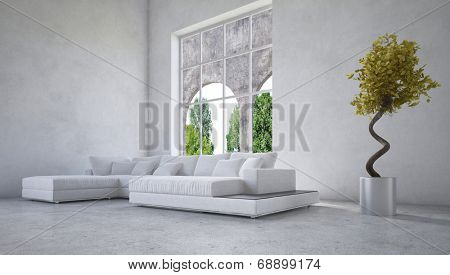 Stylish modern living room interior with an arched window overlooking a garden and modular corner suite in white with mottled light grey decor and an interesting twirled potted tree