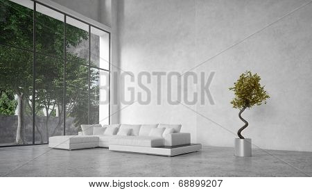 Large modern minimalist living room interior with a double volume ceiling and large glass window overlooking trees