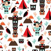 stock photo of totem pole  - Seamless kids vintage style Indian arrow and totem pole illustration background pattern in vector - JPG