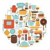 stock photo of kitchen utensils  - Background with kitchen and restaurant utensils icons - JPG