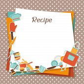 stock photo of recipe card  - Recipe background with kitchen and restaurant utensils - JPG
