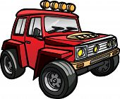 stock photo of  jeep  - Illustration of a cartoon Red Jeep - JPG