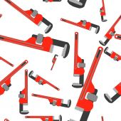 stock photo of pipefitter  - wrench pipe seamless pattern - JPG