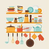 pic of kitchen utensils  - Card with kitchen shelves and cooking utensils in retro style - JPG