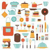 image of kitchen utensils  - Kitchen and restaurant icon set of utensils - JPG