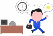 stock photo of faceless  - Vector cartoon happy blue faceless businessman rushing home with 5 pm clock thought bubble and happy smiley speech bubble on white - JPG
