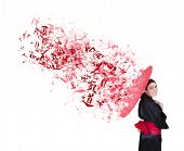 picture of geisha  - explosive geisha with red umbrella and bow on a white background - JPG