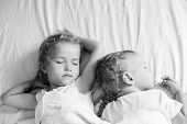 foto of matron  - charming little brother and sister asleep on white background  - JPG