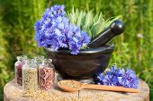image of hyssop  - Black mortar with blue cornflowers sage wooden spoon and glass bottle - JPG