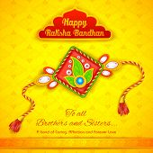 stock photo of dharma  - illustration of decorative rakhi for Raksha Bandhan background - JPG