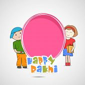 stock photo of rakshabandhan  - Cute little sister and brother holding a pink banner with colorful text on grey background for the occasion of Raksha Bandhan celebrations - JPG