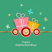 stock photo of rakhi  - Happy Raksha Bandhan celebration greeting card design with colorful gift boxes - JPG