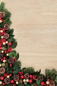 picture of ivy  - Christmas background border decoration with red baubles - JPG
