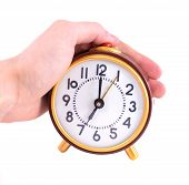 pic of stop hate  - Alarm clock and hand isolated on white - JPG