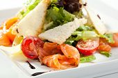 picture of caesar salad  - Caesar Salad with Salmon - JPG