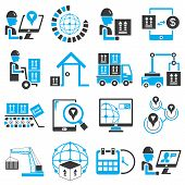 foto of track home  - set of 16 shipping service icons - JPG