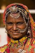picture of rajasthani  - Portrait of a India Rajasthani woman closeup - JPG