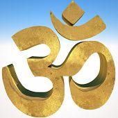 picture of om  - Om symbol on blue sky - JPG