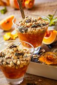 stock photo of pine nut  - Sweet pumpkin crumble with pumpkin seeds and pine nut - JPG