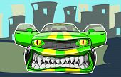 image of dragster  - Vector illustration of a sports car in a cartoon style - JPG
