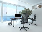 stock photo of workstation  - Modern waterfront office interior with a computer workstation and chairs in front of a large floor - JPG