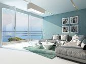 foto of aquamarine  - Luxury waterfront apartment living room with a floor - JPG