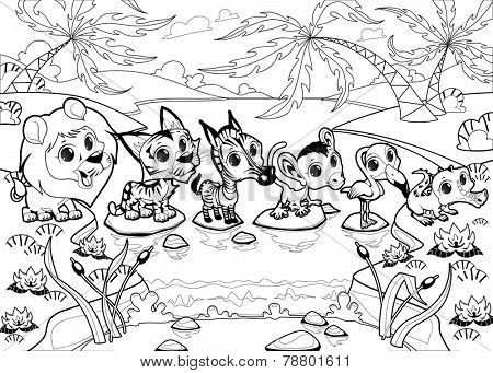 Funny animals in the jungle. Cartoon vector black and white illustration.