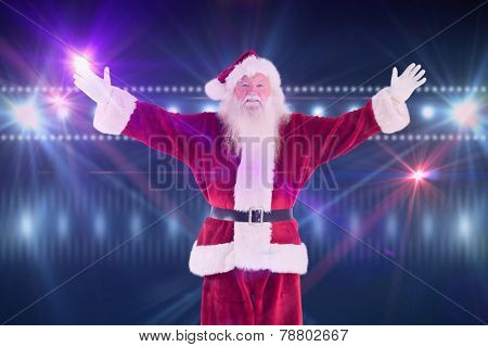 Jolly Santa opens his arms to camera against digitally generated nightlife light design