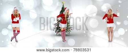 Pretty girl in santa outfit with arms crossed against white glowing dots on grey