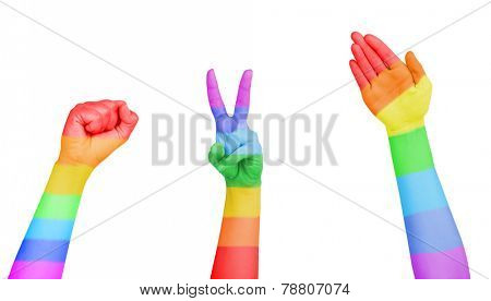 Man's hands painted as the rainbow flag isolated on white