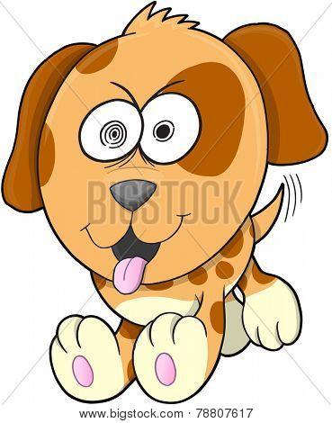 Crazy Puppy Dog Vector Illustration Art