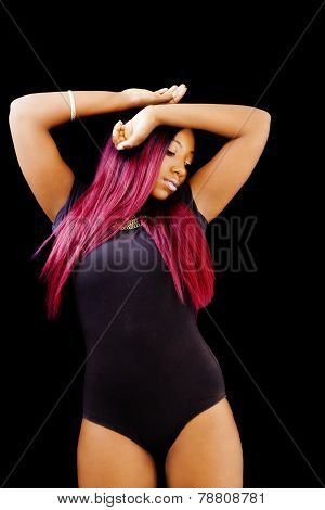 Attractive African American Woman Standing In Leotards