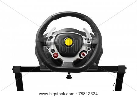 racing wheel for computer driving simulator, isolated on white