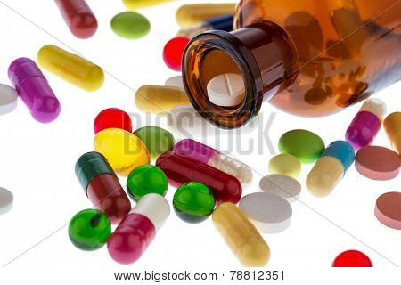 many tablets . photo icon for addiction and costs in medicine and medicines.